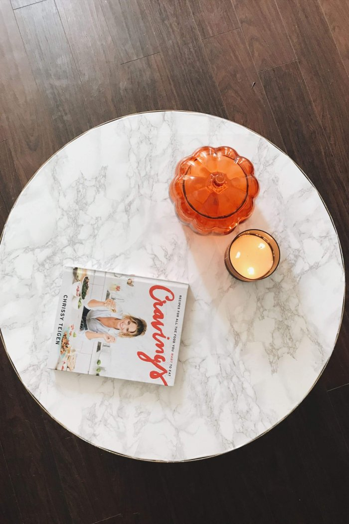 IKEA HACK: Gold and White Marble DIY Coffee Table
